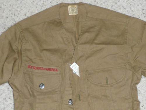 """1930's Boy Scout Uniform Shirt with metal buttons, buttons show some wear but shirt has never had badges sewn to, 17"""" Chest and 24"""" Length, #BD4"""