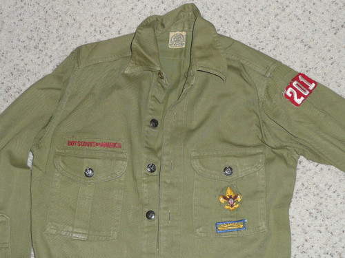 """1950's Boy Scout Uniform Shirt with metal buttons and some insignia, 18.5"""" Chest and 25"""" Length, #BD14"""