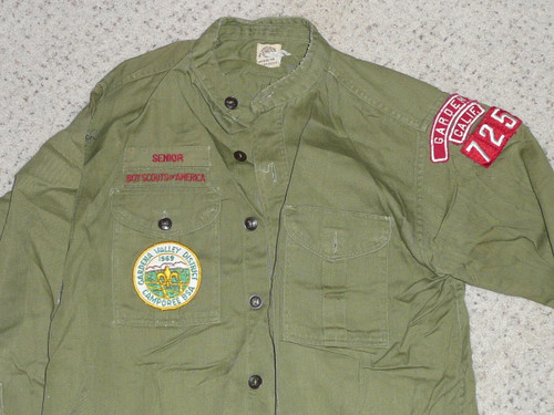"""1960's Boy Scout Uniform Shirt from GARDENA CA with Insignia, 20"""" Chest and 27"""" Length, #BD17"""