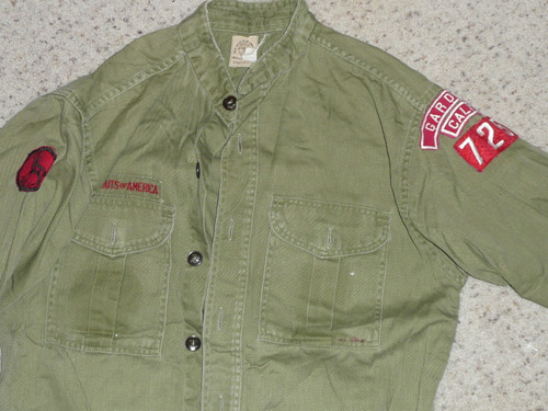 """1960's Boy Scout Uniform Shirt from GARDENA CA with Insignia, 20"""" Chest and 26"""" Length, #BD18"""