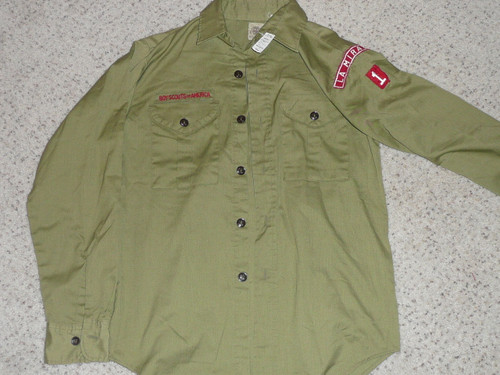 """1970's Boy Scout Uniform Shirt from LA MIRADA CA, 19"""" Chest and 26"""" Length, #BD19"""