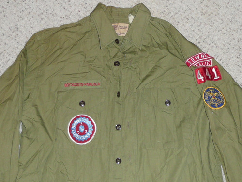 """1970's Boy Scout Uniform Shirt from DOWNEY CA with insignia, 23"""" Chest and 30"""" Length, #BD20"""