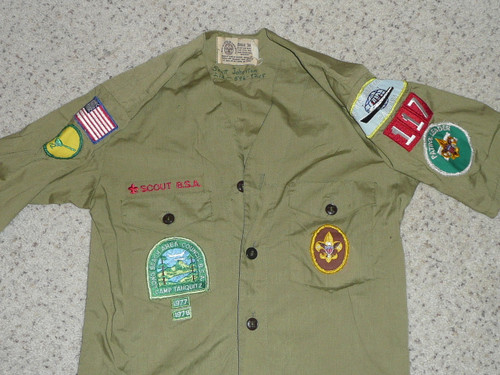 """1970's Boy Scout Uniform Shirt with lots of insignia, Long Beach Area Council, 17"""" Chest and 22"""" Length, #BD22"""