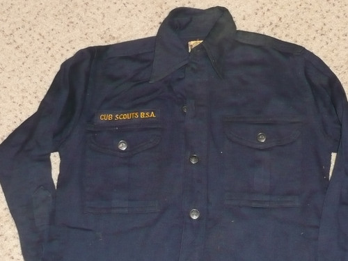 """1950's Boy Scout Cub Uniform Shirt with metal buttons,  look unused, 17"""" chest 24"""" length, #BD32"""