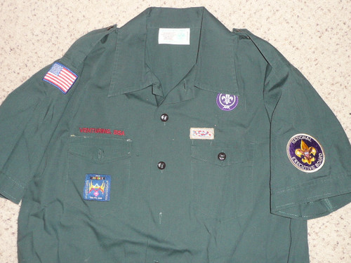 2000's Boy Scout Venturing Uniform Shirt with  2003 WJ and National Exec Board Patch,  Men's Large, #BD