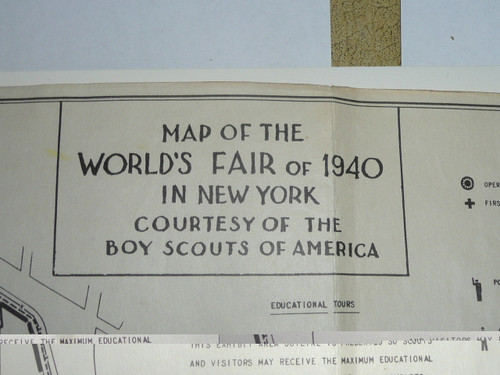 1940 New York World's Boy Scout Service Camp and Exhibit Large Map courtesy of the Boy Scouts