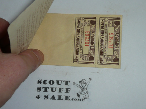 1940 New York World's Boy Scout Fair Pass for the Service Camp with tickets