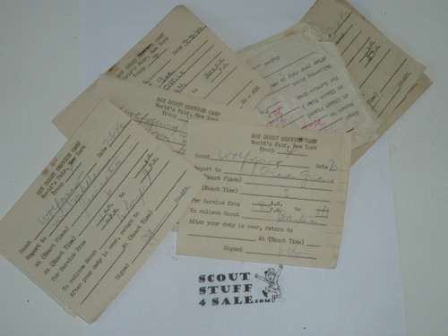 1940 New York World's Boy Scout Service Camp, Stack of Scout scheduling slips