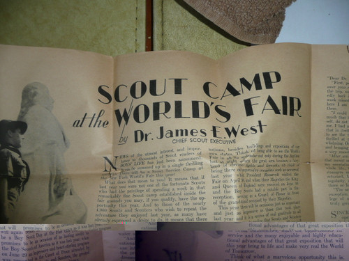1940 New York World's Boy Scout Service Camp, Article about the Fair by James E. West on newsprint, fragile