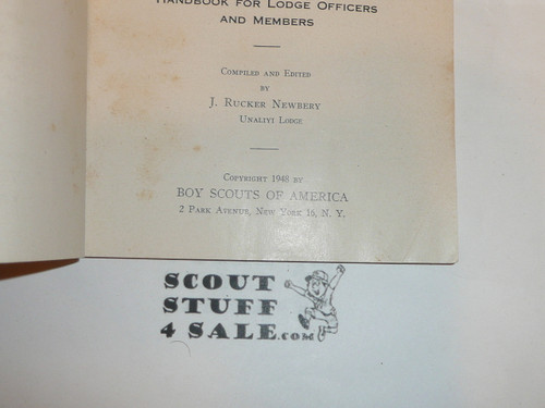 1948 Order of the Arrow Handbook, August 1948 Printing, very good Condition