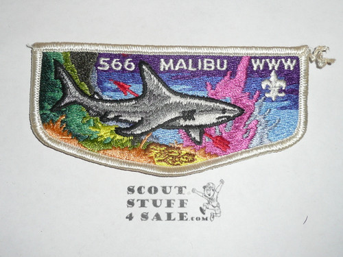 Order of the Arrow Lodge #566 Malibu 1970's Flap Patch with peach coral- Scout