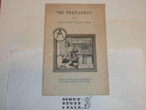 Craftmanship/ Pottery Merit Badge Pamphlet, Type 1, White Cover, MINT condition