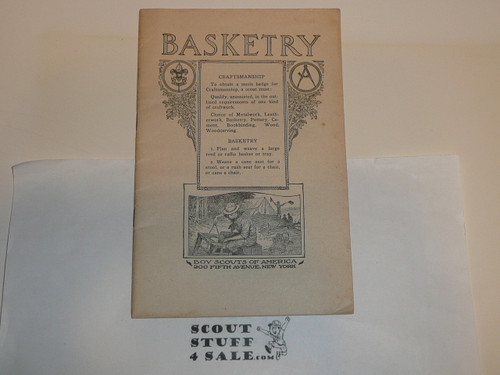 Basketry Merit Badge Pamphlet, Type 2, White Cover, 1920 printing, MINT condition