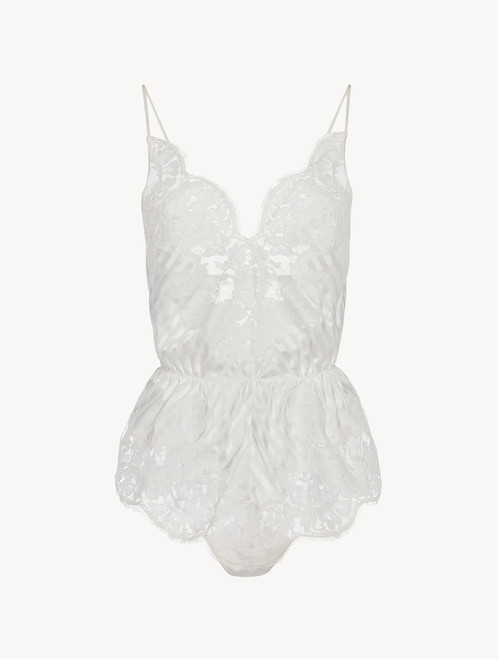 Playsuit in off-white silk with Leavers lace