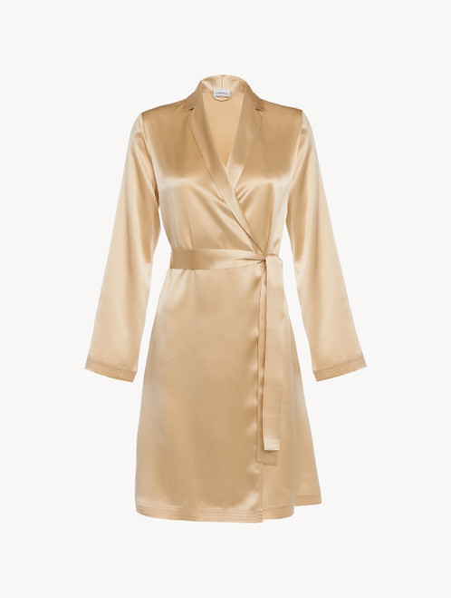 Silk short robe in beige