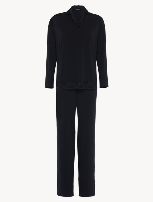Pyjamas in black stretch modal jersey with Leavers lace