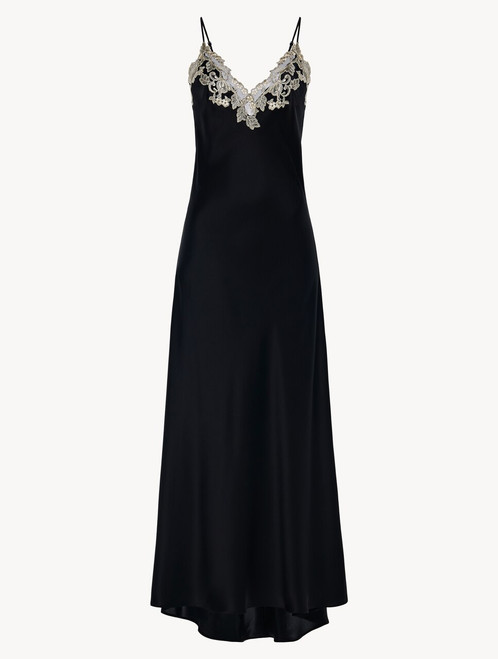 Long nightgown in black with frastaglio