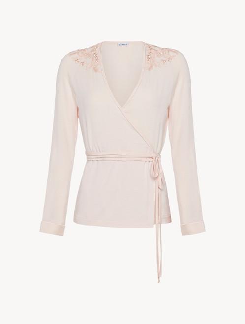 Long-sleeved wrap top in pink
