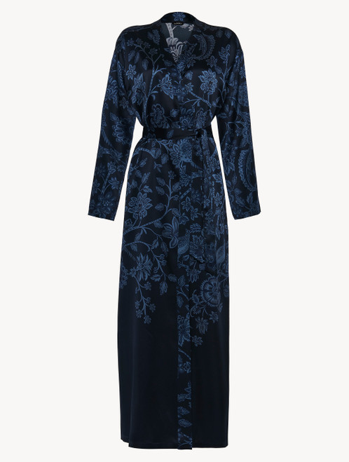 Robe in blue silk satin