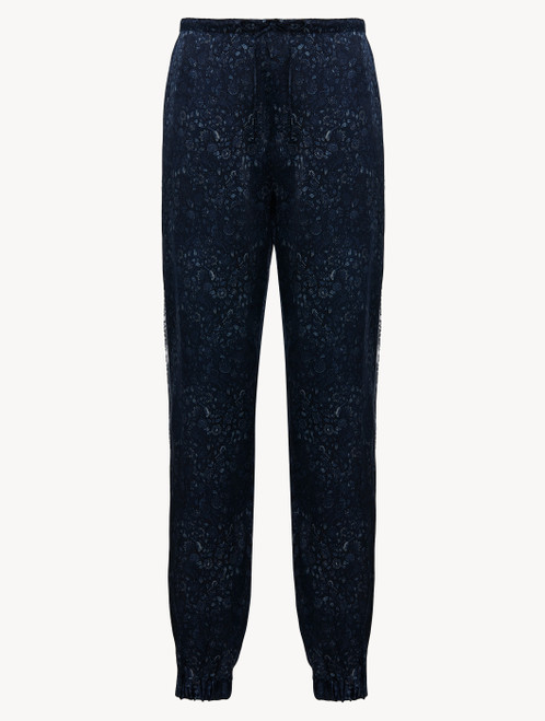 Trousers in blue silk satin
