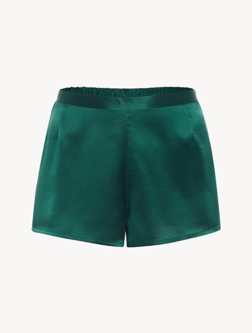 Silk shorts in emerald - ONLINE EXCLUSIVE