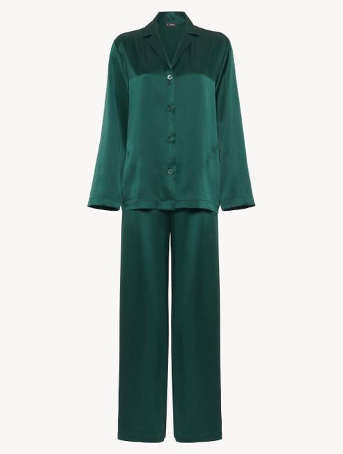 Silk pyjamas in emerald -  ONLINE EXCLUSIVE