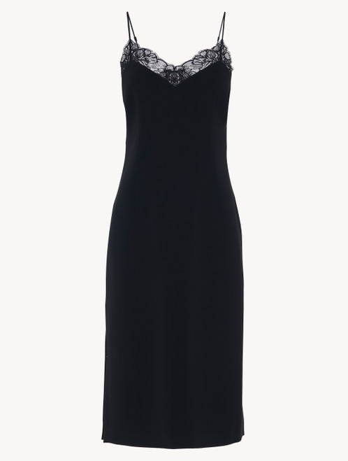 Slip Dress in black Italian silk with Jacquard lace