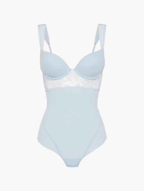 Underwired Bodysuit in blue Lycra with Leavers lace - ONLINE EXCLUSIVE