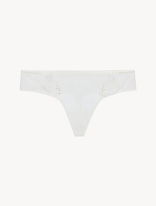Thong in sheer off-white embroidered tulle - ONLINE EXCLUSIVE
