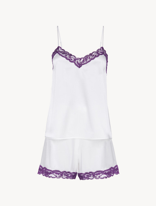 Short pyjamas in off-white silk stretch with lace - ONLINE EXCLUSIVE