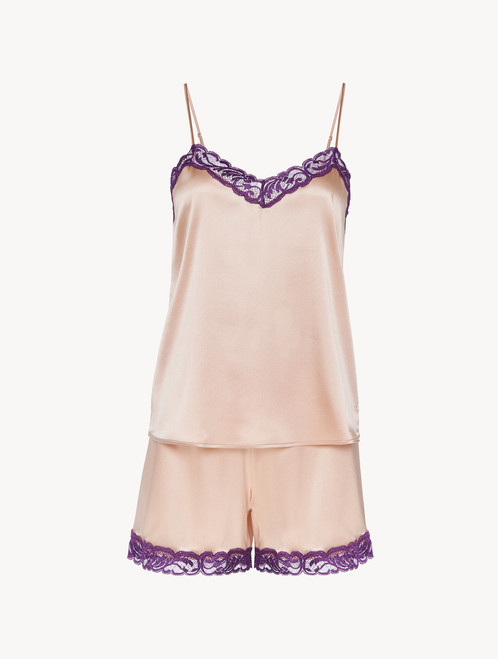 Short pyjamas in beige silk stretch with lace - ONLINE EXCLUSIVE