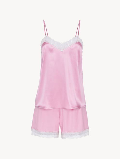 Short pyjamas in lilac silk stretch with lace - ONLINE EXCLUSIVE