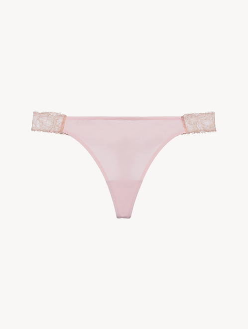 Lace thong in powder pink and sand - ONLINE EXCLUSIVE