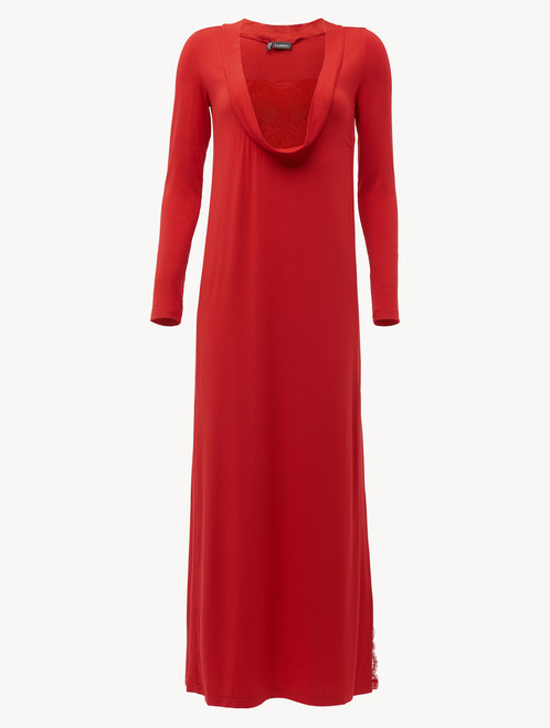 Long sleeved long nightgown in garnet modal stretch with Leavers lace - ONLINE EXCLUSIVE