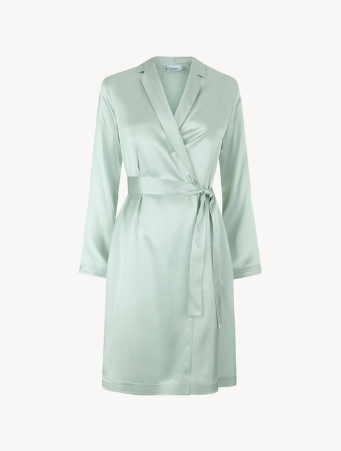 Mint green silk short robe - ONLINE EXCLUSIVE