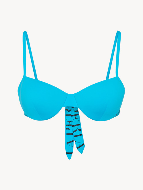 Balconette Bikini Top in turquoise with logo - ONLINE EXCLUSIVE