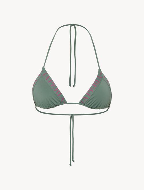 Triangle bikini top in khaki green with logo