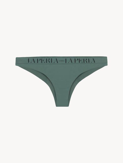 Brazilian bikini brief in khaki green with logo