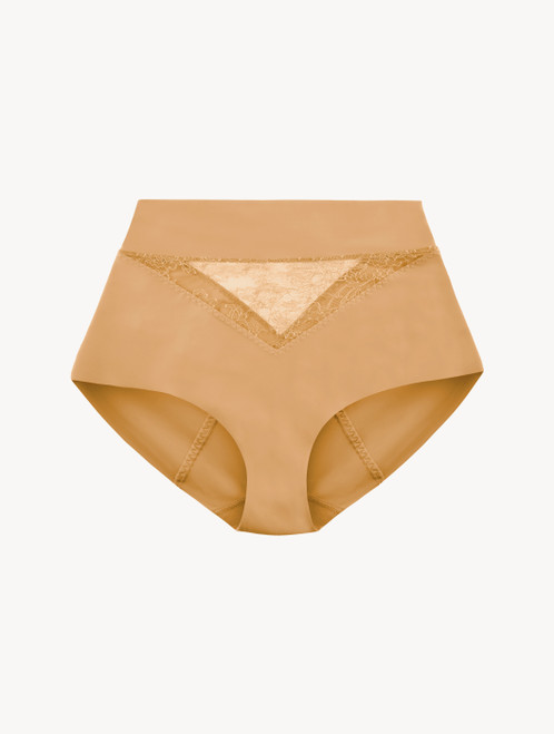 Nude Lycra control fit high-waist briefs with Chantilly lace
