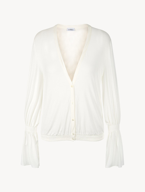 Off-white modal top with bell sleeves
