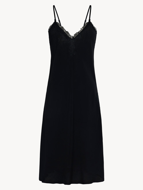 Black viscose short nightgown with tulle