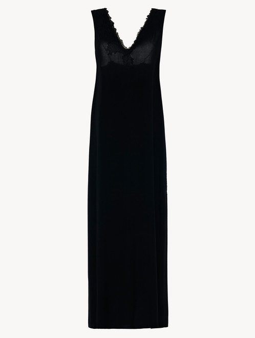 Black viscose long nightgown with tulle