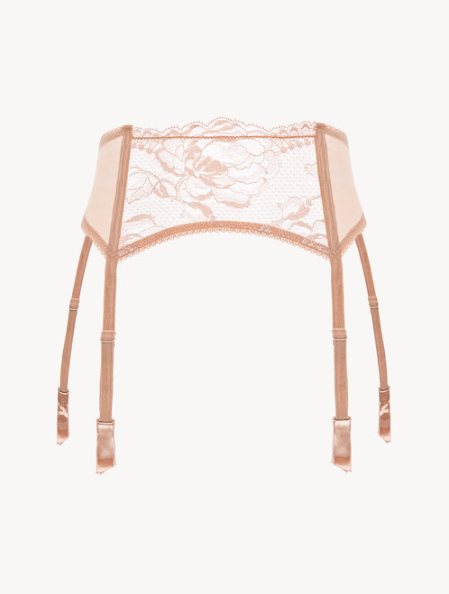 Powder pink lace suspender belt