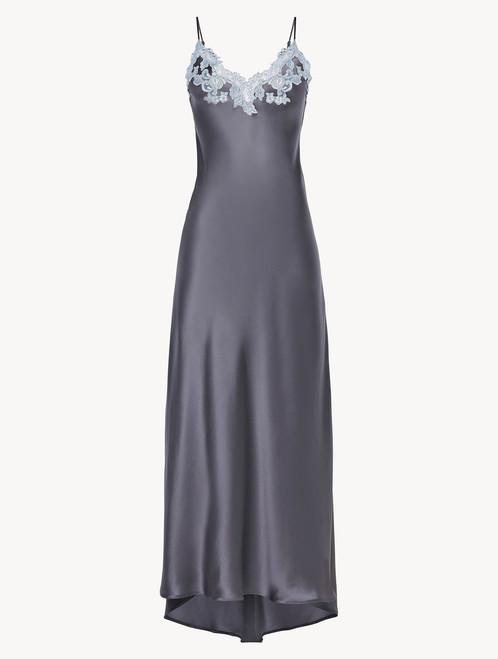 Grey silk long nightgown with lurex frastaglio  - ONLINE EXCLUSIVE