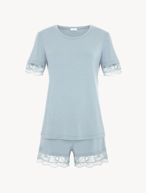 Short pajamas in light blue rayon with lace