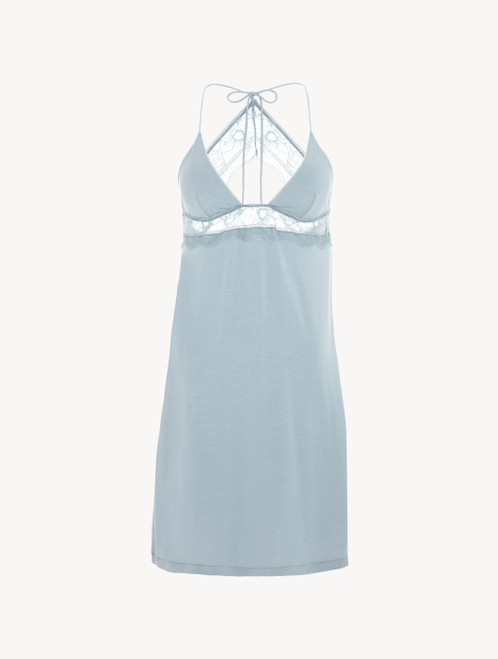 Slip in light blue rayon with lace