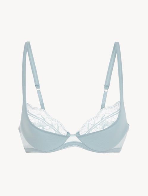 Balconette bra in light blue stretch tulle