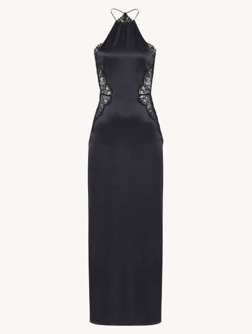 Black silk halterneck nightdress with Leavers lace trim