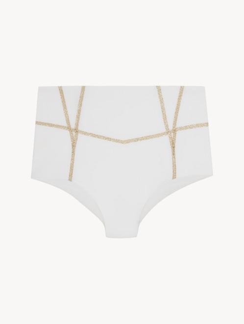 High-waisted bikini briefs in white with glitter detail