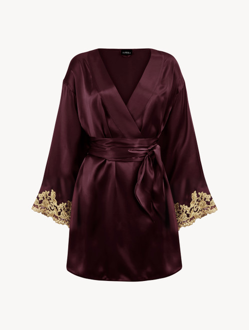Bordeaux red silk satin short robe with frastaglio